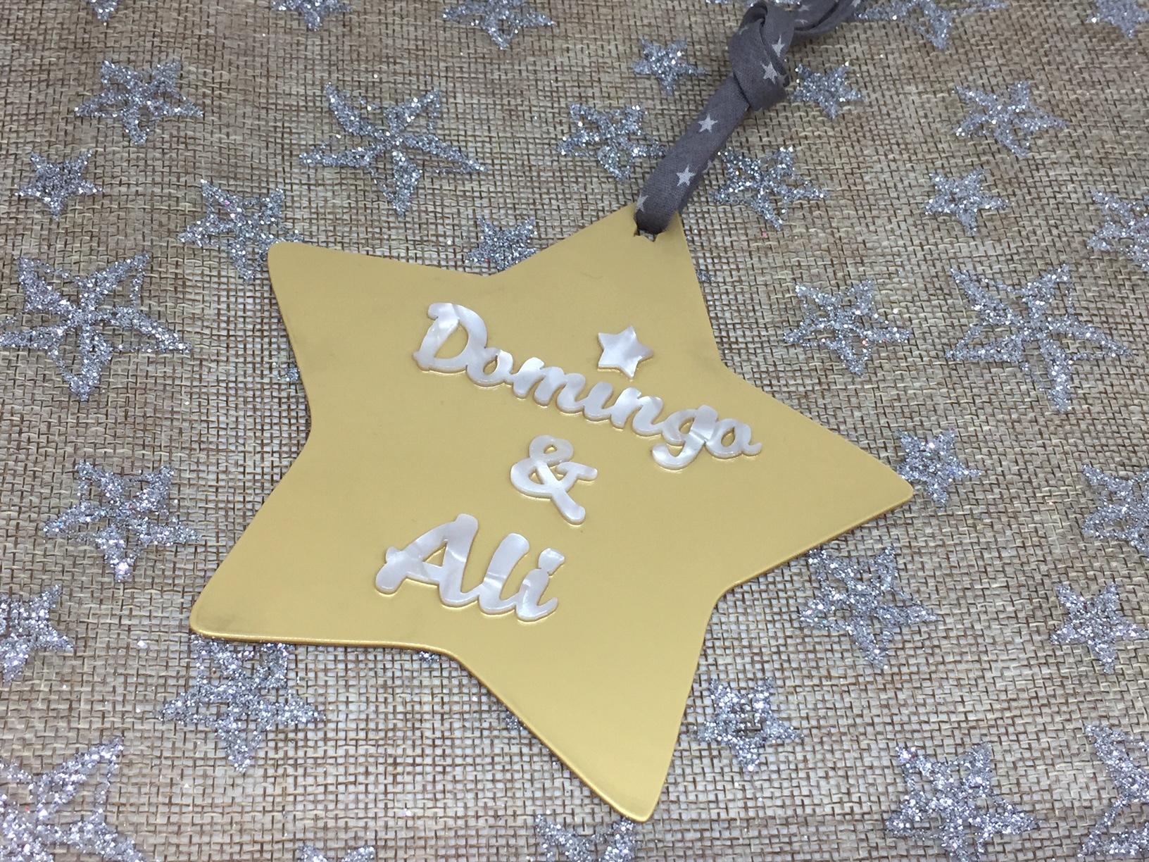 Adorno de navidad estrella personalizada