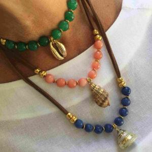 Collar piedras colores y concha