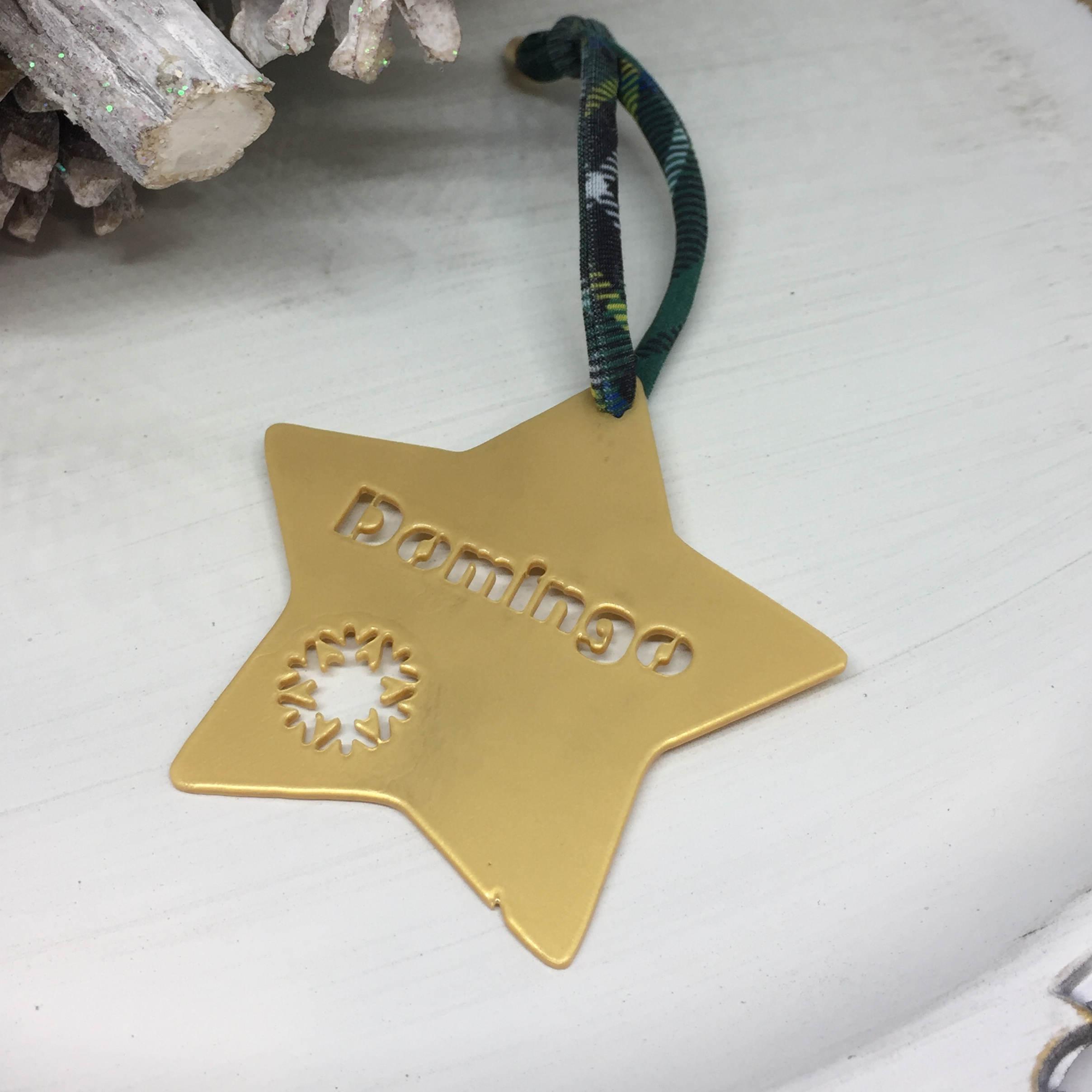 Adorno de navidad estrella nombre calado