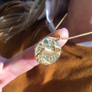 Collar Horóscopo plata 925 bañado en oro