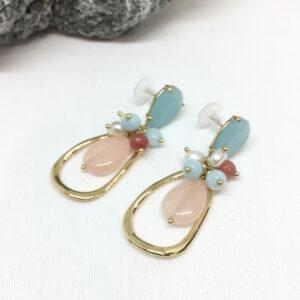 Pendientes piedras jade y perlas