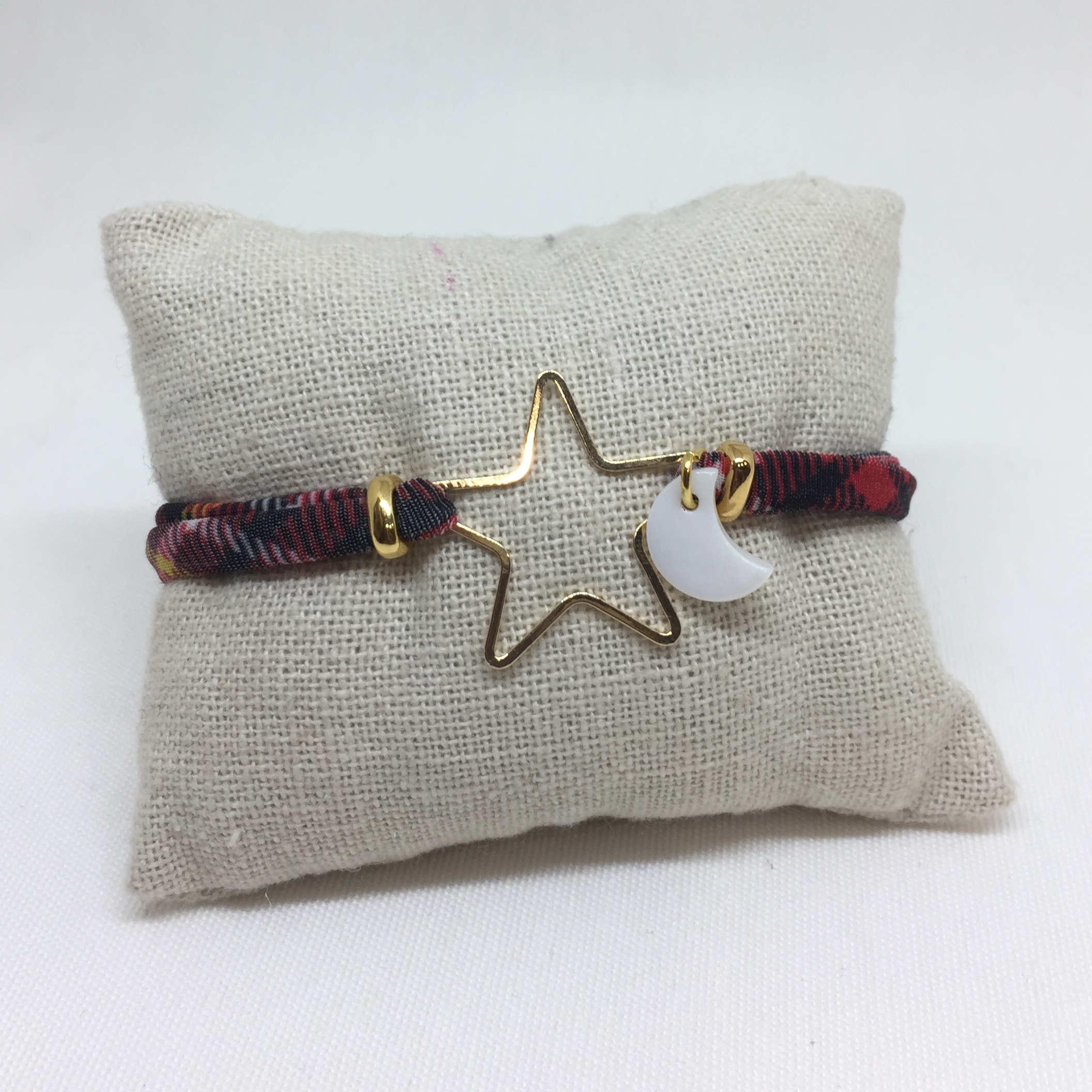 Pulsera estrella con luna y cinta elástica